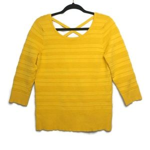 Spense Yellow Strappy Back Sweater Size Med